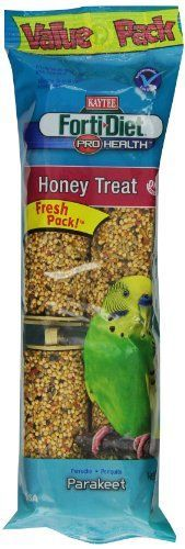 Kaytee Forti-Diet Pro Health honey treat stick for parakeet. Made from fortified and nutritious ingredients that are a fun-to-eat way to add nutrition and activity to your pet's diet. Natural prebioti...