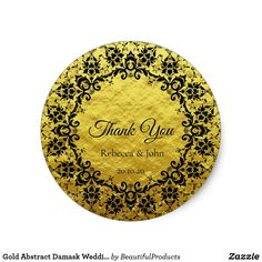 Shop Gold Abstract Damask Wedding Thank You Sticker created by BeautifulProducts. Personalize it with photos & text or purchase as is! Wedding Favor Labels, Personalized Wedding Favors, Diy Wedding Favors, Damask Wedding, Wedding Envelopes, Thank You Stickers, Wedding Thank You, Custom Stickers, Perfect Wedding