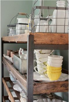 shelving lovely Modern retro kitchen design with bar set hand painted dresser via Seed Home Interior, Interior Design Kitchen, Design Bathroom, Bathroom Interior, Kitchen Dining, Kitchen Decor, Kitchen Cart, Basement Kitchen, Kitchen Nook