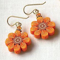 Millefiori Flower Earrings, Pierced