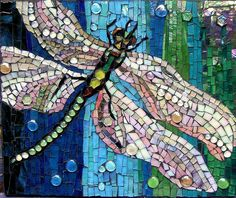 Pink Dragonfly by Grandmother Moon Mosaics,