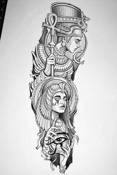 Egyptian Queen Tattoos, Egyptian Tattoo Sleeve, Egyptian Drawings, Hand Tattoos, Body Art Tattoos, Sleeve Tattoos, Egypt Tattoo Design, Tattoo Design Drawings, Family Tattoo Designs