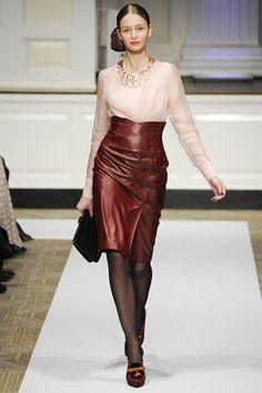 Oscar de la Renta PF12 high-waisted burgundy leather pencil skirt on Exshoesme.com