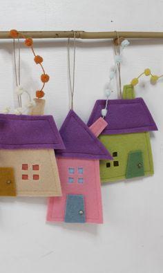 Felt House Ornaments, decorative gify, sweet home. Housewarming gift. Kids room decor.