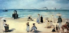 Beach Scene Painting by Edouard Manet
