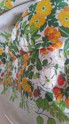 Scandinavian large tablecloth in amazing floral fabric Vintage Almedahls 70s
