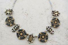 """Gold Wagon Wheel"" Handmade Beaded Necklace"