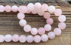 Кварц розовый 6,8,10 мм шар матовый бусины камни для украшений. Handmade.