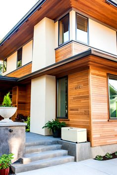 A Landport lockbox in Cream works well at this  contemporary home in Portland, Oregon