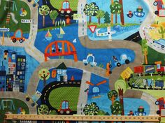 Cotton Kids Roadway On Track Toy Cars Cotton Fabric Print by the yard (otra-00351-muxxxxxx)