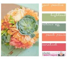 Coral, peach and greens = pretty color combos for spring