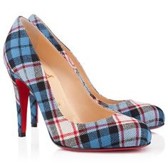 Blue tartan shoes