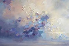 """""""Fondness For Grey"""" 36""""x36"""" MELISSA MCKINNON Contemporary Abstract Landscape Artist features BIG COLOURFUL PAINTINGS of Aspen & Birch Trees, Rocky Mountains and stunning views of the Canadian prairies, big skies and ocean beaches. Western Art. (Close-up detail of painted clouds and sky)"""