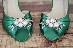 Green Wedding Shoes, Kitten Heels, Bridesmaids Shoes, Green Shoes, Custom Wedding Shoes, Simple Wedding Shoes, Peep Toes, Green Wedding