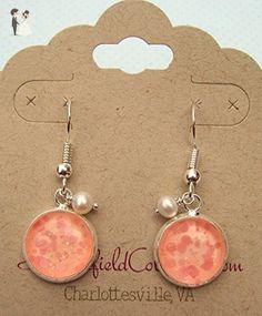 Silver-tone Peachy Pink Glitter Glass Cultured Freshwater 4mm Pearl Charm Dangle Earrings - Wedding earings (*Amazon Partner-Link)