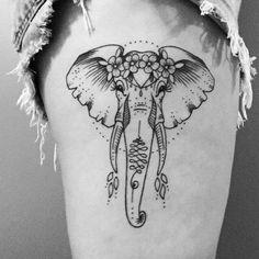 Dainty Tattoos, Dope Tattoos, Body Art Tattoos, Small Tattoos, Tatoos, Elephant Head Tattoo, Elephant Tattoo Design, Tattoo Sleeve Designs, Sleeve Tattoos