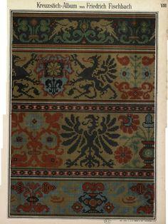 Hippie Crochet, Needlepoint Designs, Border Pattern, Knitting Charts, William Morris, Loom Beading, Cross Stitching, Blackwork, Cross Stitch Patterns
