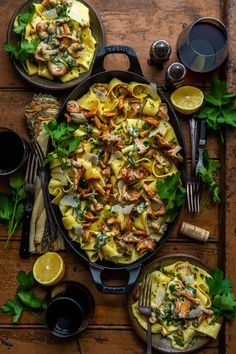 Pappardelle with Creamy Garlicky-Lemon Chanterelles