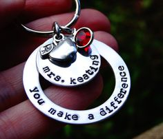 Gift for Teacher Keychain You make a difference by ShesaGemJewelry, $22.00