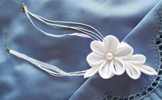 Kanzashi Flower Necklace White Satin Bridal by HandyCraftTS, $19.00