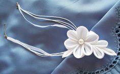 Kanzashi Flower Necklace White Satin Bridal by HandyCraftTS, $19.00