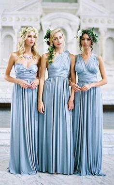 Convertible Wrap Tie Jersey Long Bridesmaid Dress Formal Gown #wedding #macloth #promdress #bridesmaid #bridesmaiddress #formaldress #formalgown #skyblue