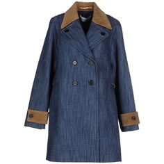 Mauro Grifoni Denim Outerwear ($410) ❤ liked on Polyvore featuring outerwear, coats, blue, long sleeve coat, blue double breasted coat, blue velvet coat, lapel coat and mauro grifoni