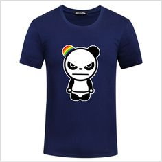 2016 New Summer Fashion Printing Mens T Shirts Cartoon Angry Panda Short Sleeve T Shirt Mens Clothing Trend Casual Tee Shirt 5XL