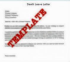 Template of Death Leave Letter