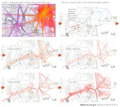 Marta Musial - parametric design landscape, urban, paths, detour network, grasshopper, processing