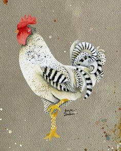 Rooster Wallace Art Print by theopulentnest Chicken Quilt, Chicken Bird, Rooster Painting, Rooster Art, Gallus Gallus Domesticus, Decoupage, Chicken Pictures, Chicken Painting, Farm Art