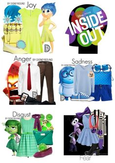 Dress in style as your favorite Inside Out Emotion (also known as DisneyBounding)! Disney's Inside Out is such a popular movie! So, I created the Ultimate Inside Out Movie Party Guide. Disney Themed Outfits, Disney Bound Outfits, Disney Dresses, Disney Fancy Dress, Princess Inspired Outfits, Cute Group Halloween Costumes, Halloween Outfits, Inside Out Halloween Costumes, Costumes Kids