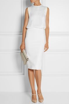 Victoria Beckham | Kleid aus mattem Satin und Stretch-Jersey mit geschlitzter Rückenpartie | NET-A-PORTER.COM