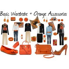 """""""Basic Wardrobe + Orange Accessories"""" by susanmcu on Polyvore For me this would have a rose pink, not orange!"""