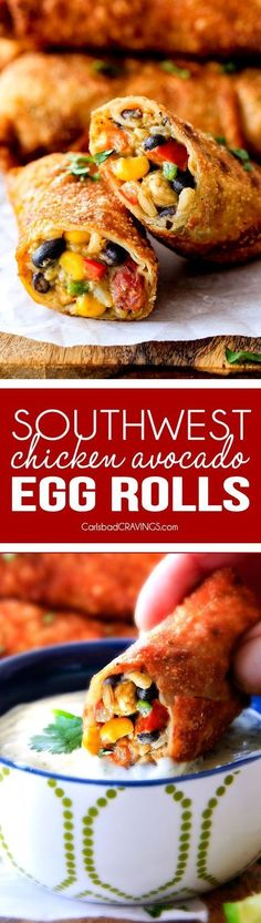 CRISPY Southwest Egg Rolls loaded with Mexican spiced chicken, beans, tomatoes, rice, avocado and cheese! These eggrolls are unreal! So much flavor and texture! And don't skip the Cilantro Lime Ranch Dip - its heaven!