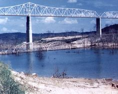 The old Kimberling City bridge on Table Rock Lake. The original is still intact, completely under water.