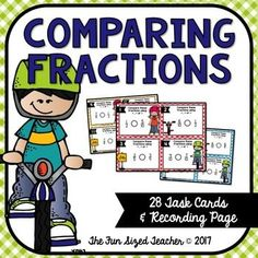 This set of 28 comparing fractions task cards is perfect for use in a center, for scoot games, partner work or as an early finisher activity. Students will compare fractions with different denominators. This set includes:*28 Task Cards (2 Sets - full color and black line master for ink saving printing!)*Recording Page*Answer KeyYou may also like: Multi digit Mutiplication Task Cards - Three Digit by Two Digit Multiplication Multiplication Task Cards - 3 Digits x 2 Digits Looking for…