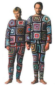 granny square can warm the body and the heart, yarn bombing human style, if ai do a few squares at a time, I can have new union suits for family,  Karen Dittes knitting mills: Neejj where it is cozy