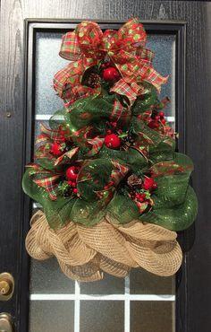 Items similar to Christmas Tree Wreath; Deco Mesh Christmas Tree Wreath… …