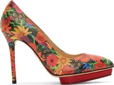 Red Frida Kahlo Debbie Pumps. #Floralprint #Spring #Summer #Shoes