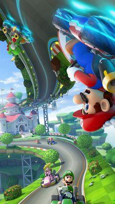 This is a neat wallpaper. Mundo Super Mario, Super Mario Games, Super Mario Art, Super Mario World, Nintendo Mario Kart, Mario Kart 8, Mario Video Game, Video Game Art, Image Mario