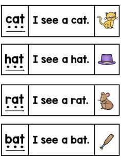 Kindergarten Reading Fluency - CVC Word Sentences Strips and Cards Jolly Phonics, Teaching Phonics, Phonics Worksheets, Phonics Activities, Word Family Activities, Phonics Lessons, Word Sentences, Simple Sentences, Cvc Words
