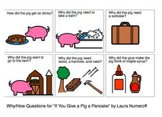"More free downloads for ""If You Give a Pig a Pancake."" why ?s, where ?s, following directions, sequencing, retelling, etc."