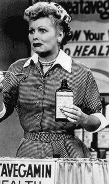 """I Love Lucy"" (1951-57)  Lucille Ball as Lucy Ricardo  ""Lucy Does a TV Commercial"" Vitameatavegamin!!!"