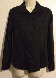Womens GAP Shirt Black Medium Long Sleeve Snap Buttons Cotton #GAP #ButtonDownShirt #Casual