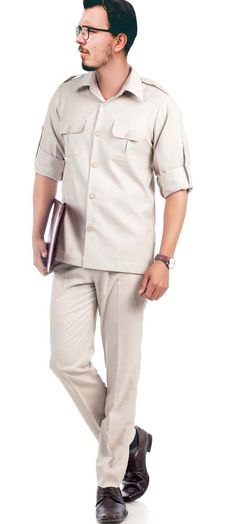 778cd5d84 Become an irresistible force by wearing this beige safari suit. You can  give a day's