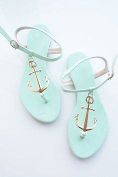 Minty Green Nautical Golden Anchor Sandals