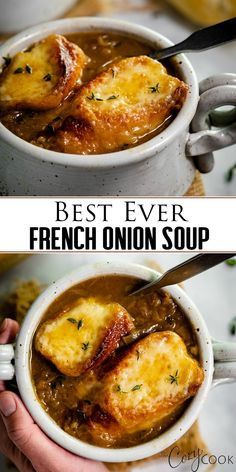 BEST ever French Onion Soup! After much testing, this is definitely the BEST French Onion Soup recipe you'll find, and it's easy to make too! Learn how to make perfectly caramelized onions for the most flavorful French Onion Soup ever! Crock Pot Recipes, Best Soup Recipes, Chicken Recipes, Healthy Recipes, Best Onion Soup Recipe, Onion Recipes, Recipe For Onion Soup, Lipton Onion Soup Recipes, Simple Soup Recipes