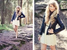 lace dress + moto jacket