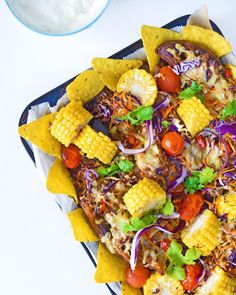 Sweet Potato Nachos: I made a giant family tray using pulled pork from the freezer. My loved his 'sweet potato boats', and of course, the corn cobs were saved to make corn cob stock. My Favorite Food, Favorite Recipes, Sweet Potato Nachos, Bruschetta Chicken, Good Enough To Eat, Meals For The Week, Tasty, Yummy Yummy, Food Porn